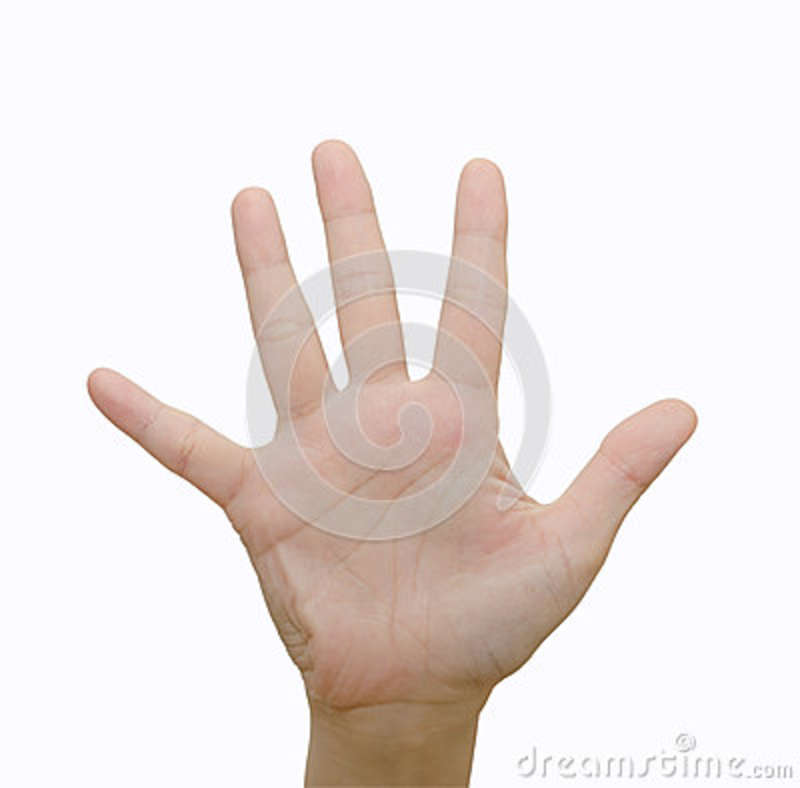 Hand Symbol Means Five Stock Photo Image Of Number Background