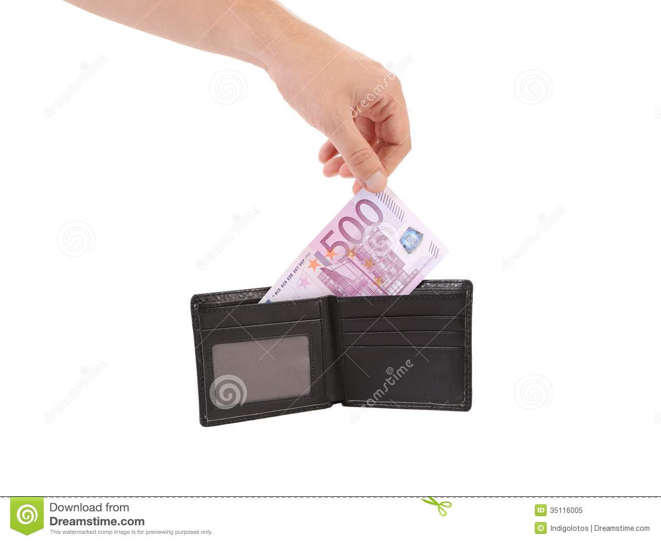 Hand taking out five hundred euro bill.