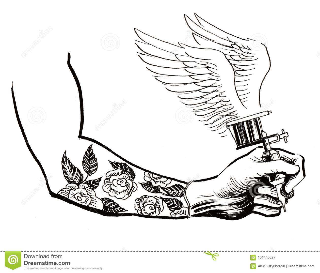 Tattoo Machien Etch Drawing: Hand With A Tattoo Machine Stock Illustration
