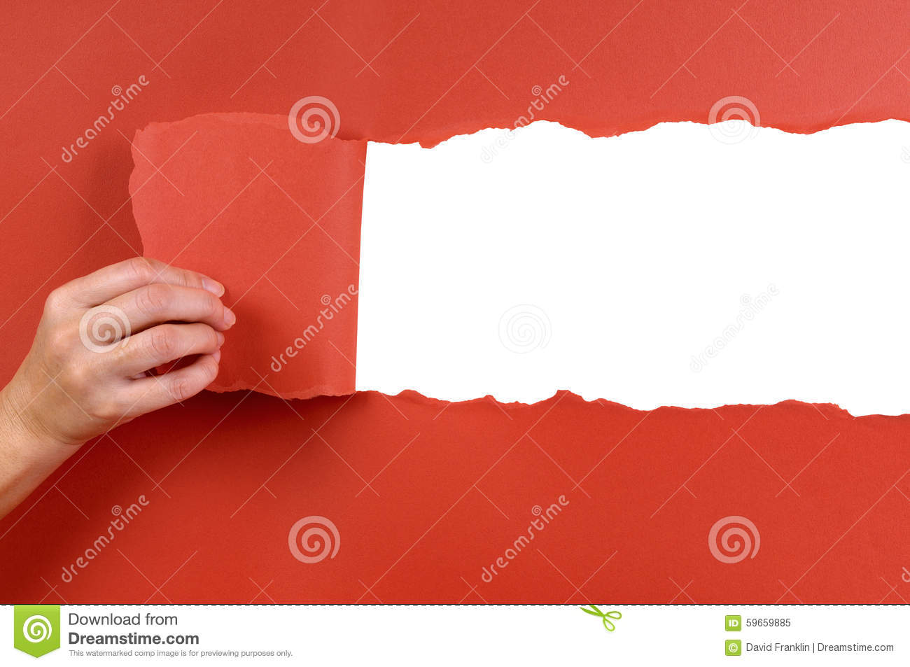 db7f886ffe458 Hand Tearing Red Paper Background Uncovering White Copy Space Stock ...