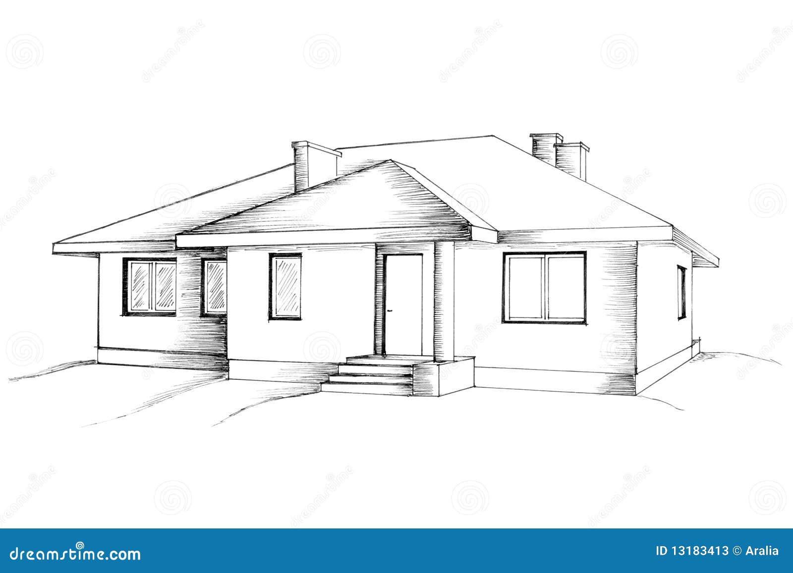 Hedendaags Hand tekening van het huis stock illustratie. Illustratie FZ-26