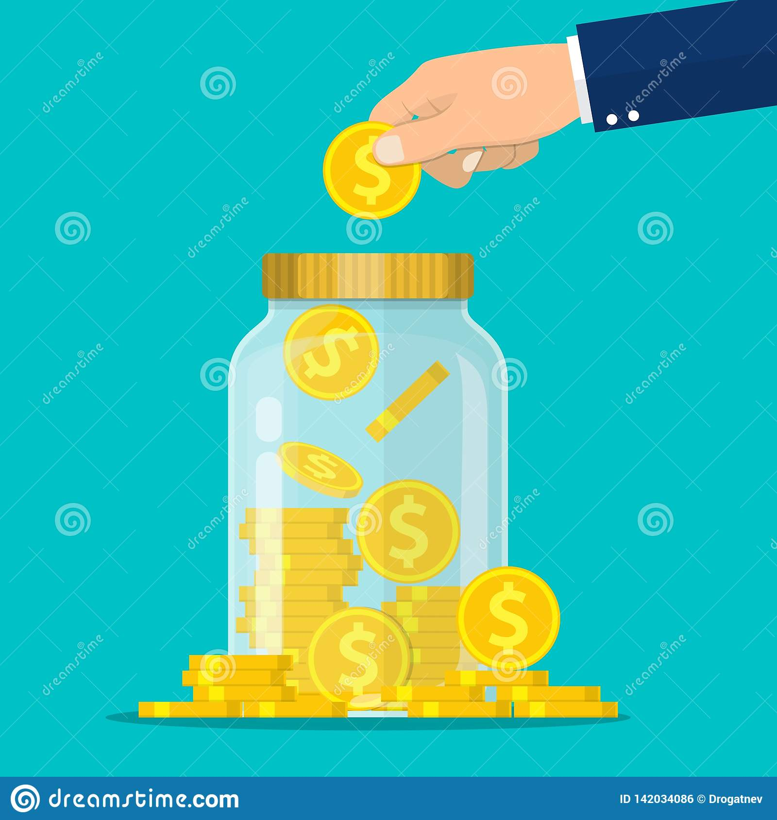 Hand throws a gold coin in the jar