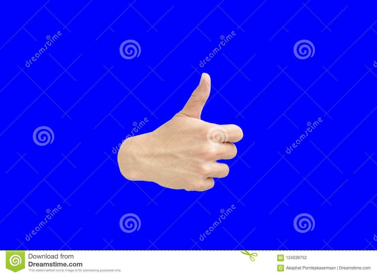hand thumb up on blue background