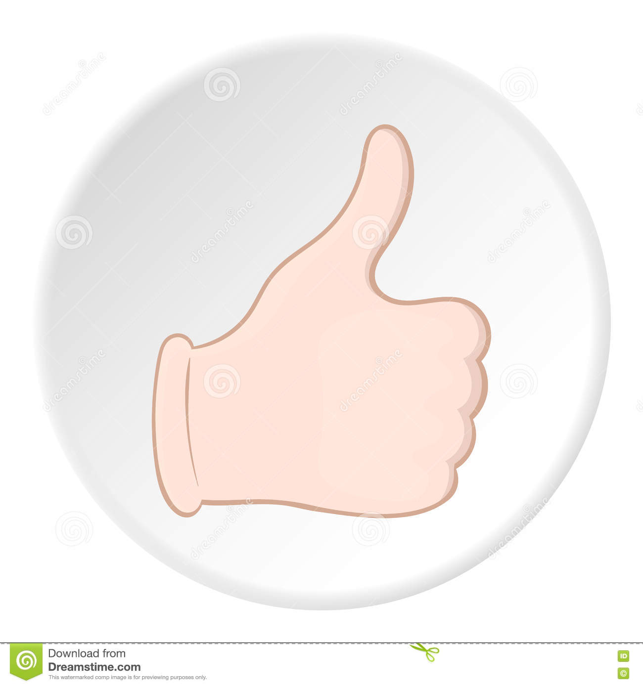 Hand with thumb up icon, cartoon style