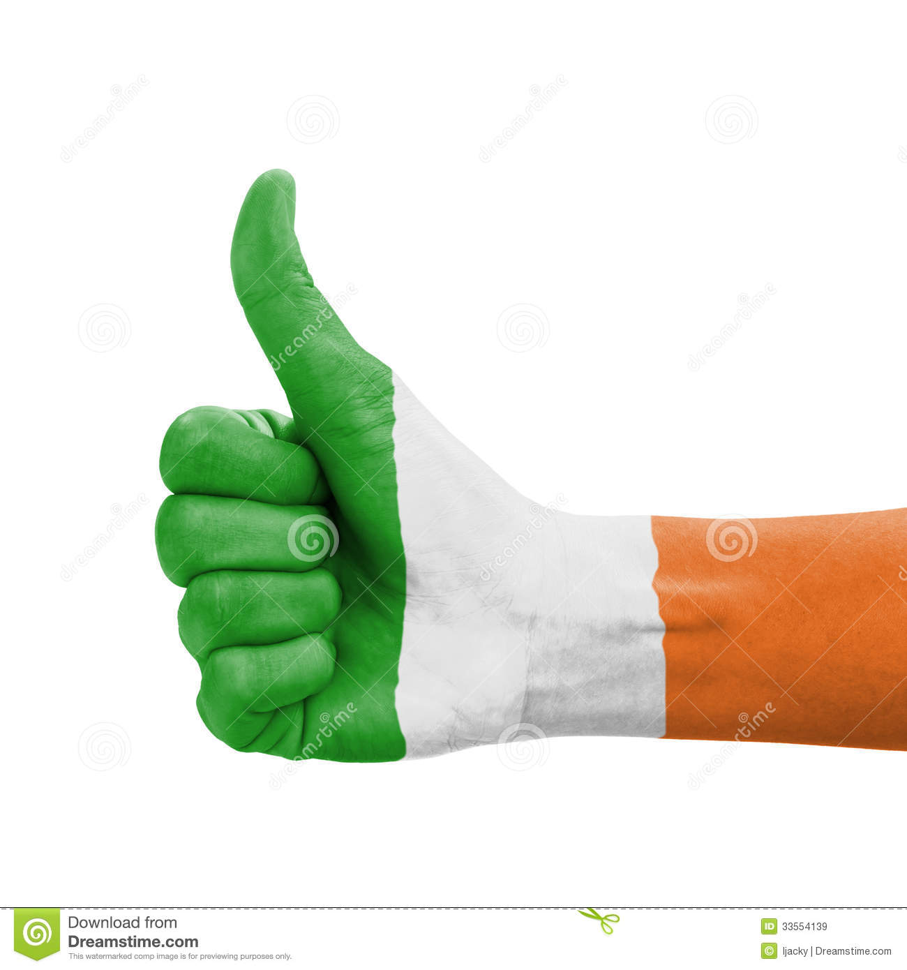 hand with thumb up republic of ireland flag paint royalty free
