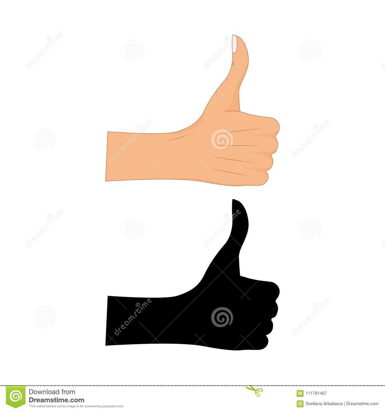 Hand thumb up sign with a black silhouette on a white background. Vector illustration. Positive feedback, good gestures