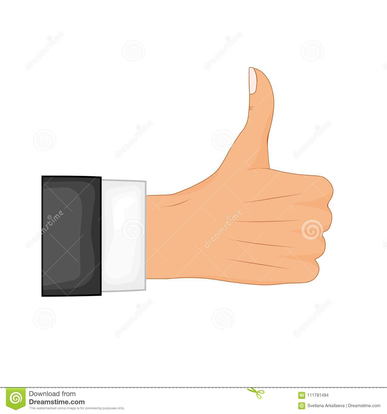 Hand thumb up sign on a white background. Vector illustration. Positive feedback, good gestures, like. Flat style vector