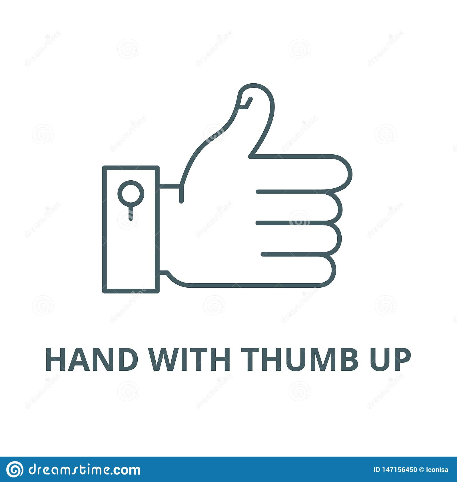 Hand with thumb up vector line icon, linear concept, outline sign, symbol