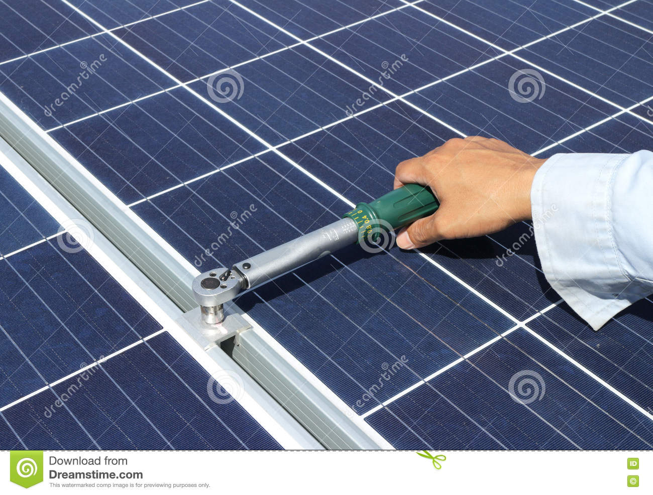Hand Tightening Solar Panel Clamp With Torque Wrench Stock