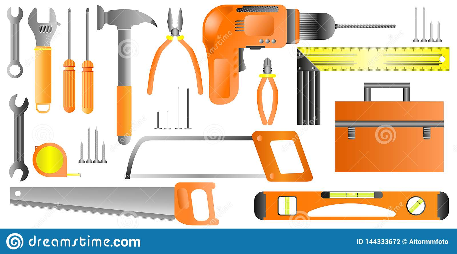 Hand tool set. Collection of equipment for repair - Vector