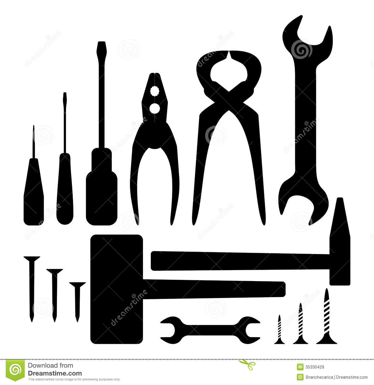 Hand tool silhouette set stock vector. Image of bolt ...