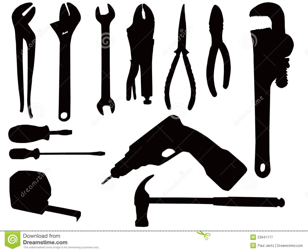 Hand tool silhouettes stock illustration. Illustration of ...