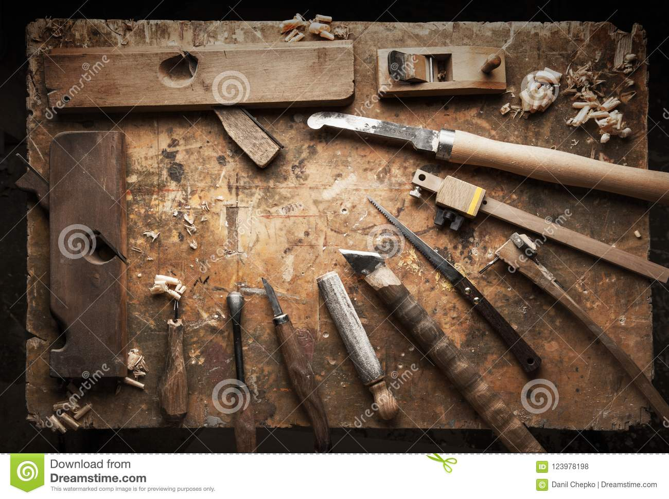 Hand Tools Wood On An Old Wooden Workbench Stock Photo Image Of