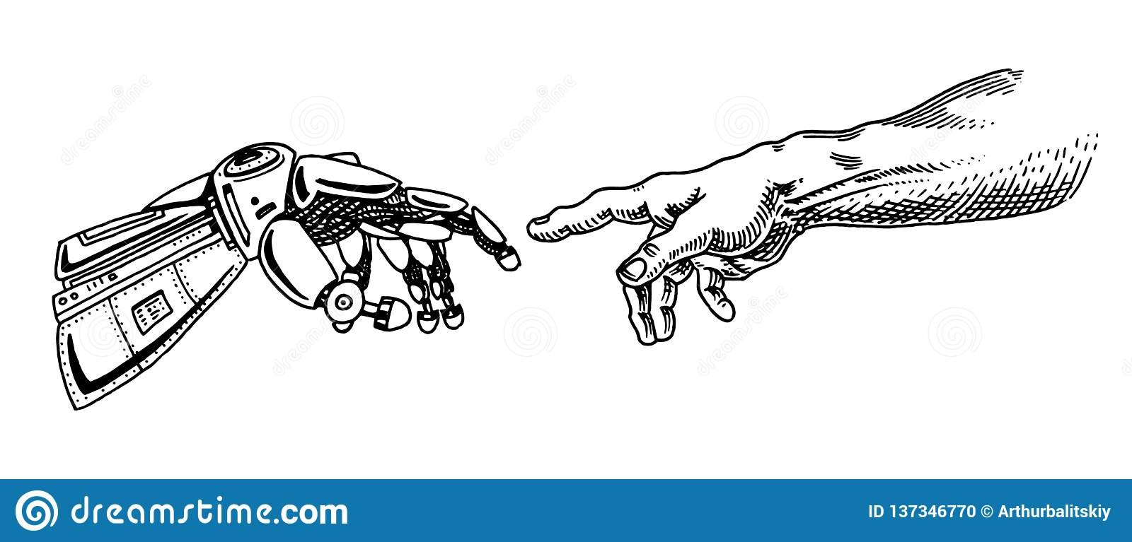 Hand touch. Android and human. Artificial intelligence Banner. Bionic arm poster. Future technology. Vintage Engraved