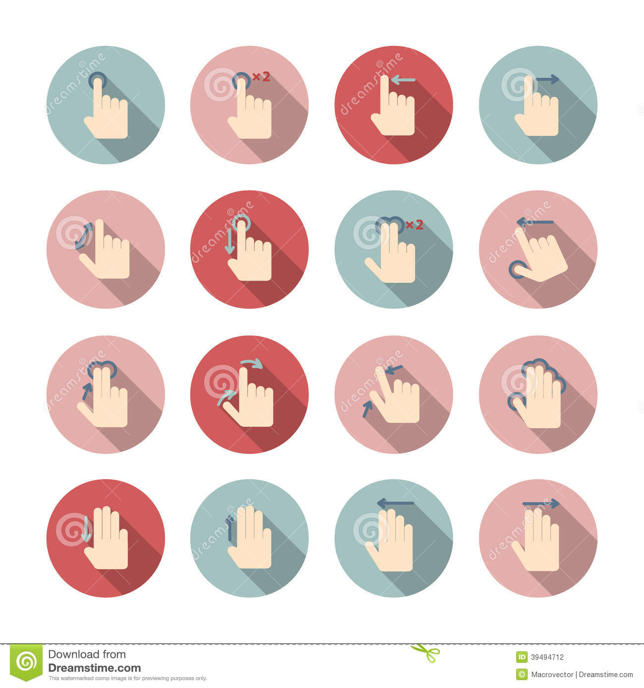hand touch gestures icons set stock vector