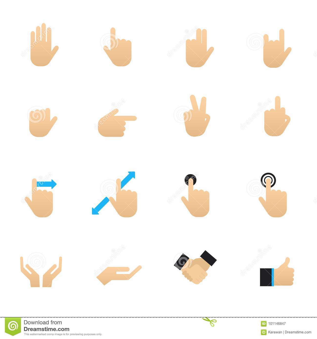 Hand and touch gestures set of signs and symbols vector hand and touch gestures set of signs and symbols vector illustration color icons flat style buycottarizona Choice Image