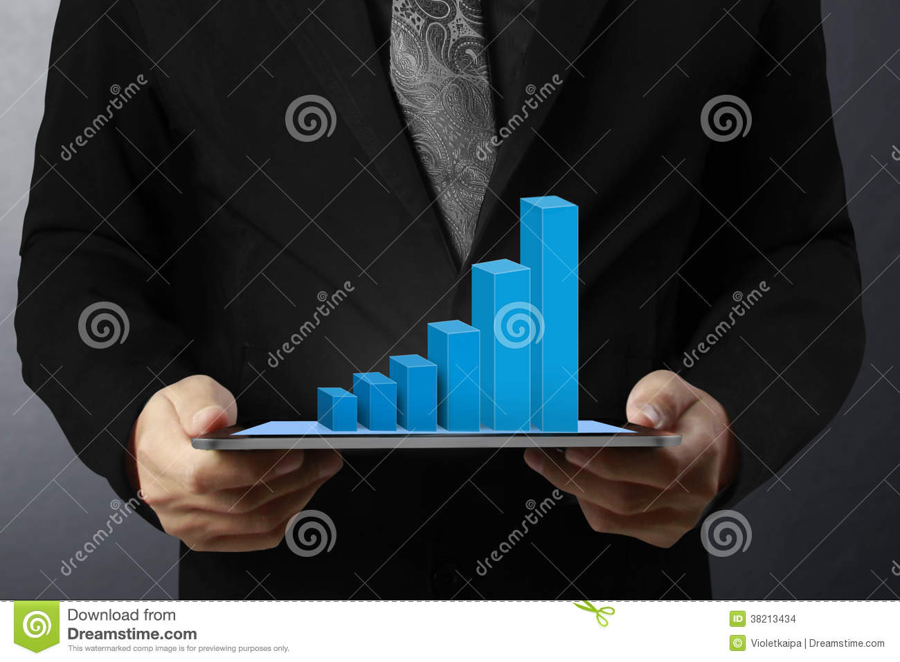 Hand Touch Screen Graph On A Tablet Stock Photo Image Of