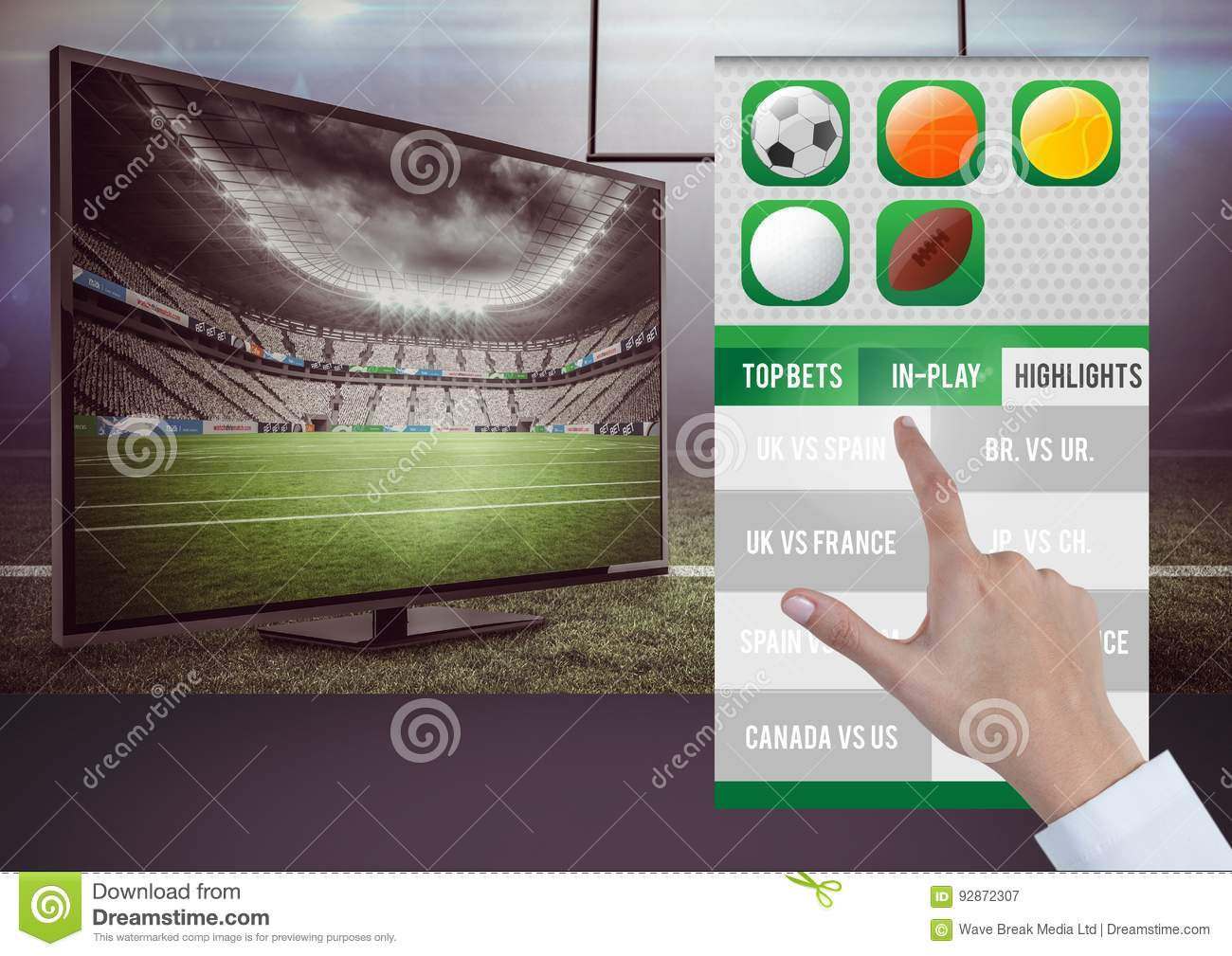 Hand touching a Betting App Interface television