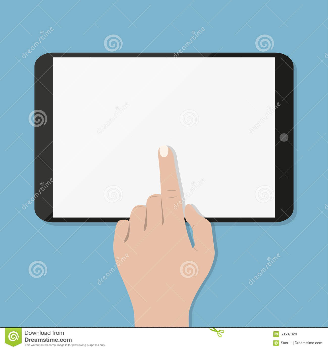 Hand Touching Blank Screen Of Tablet Computer Cartoon