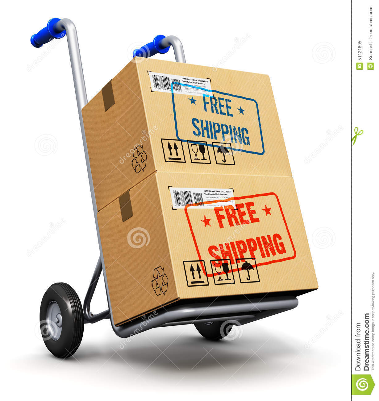 Download Hand Truck With Cardboard Boxes Stock Illustration - Illustration of carry, retail: 51121805