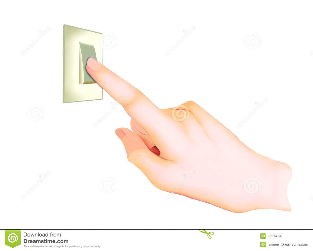 A Hand Turning On Off Light Switch