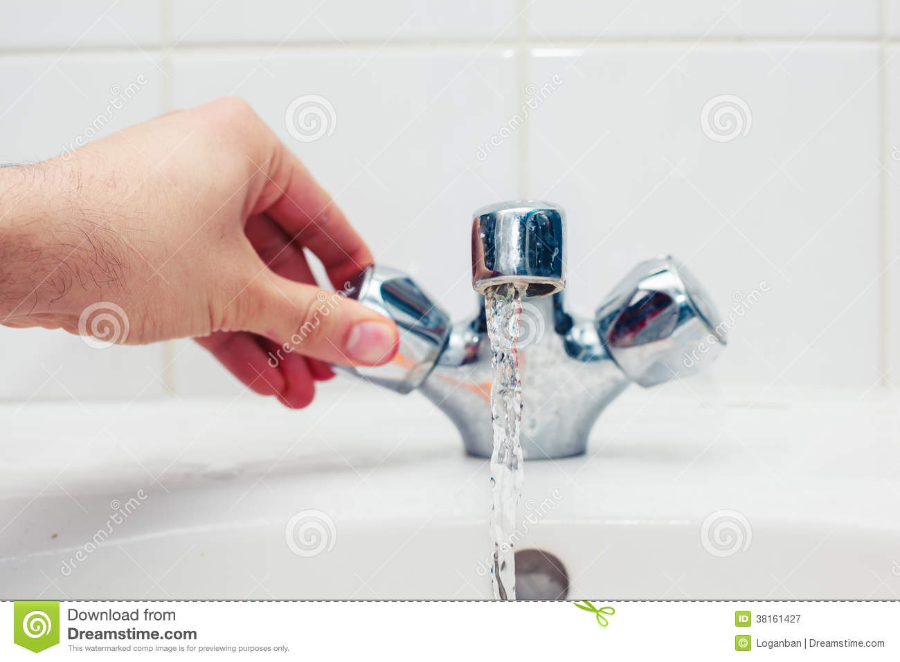 Hand Turning Tap Royalty Free Stock Photography Image