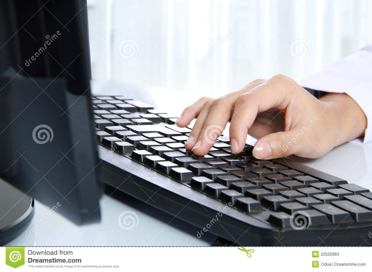 hand typing on the computer keyboard stock image image 22520963. Black Bedroom Furniture Sets. Home Design Ideas