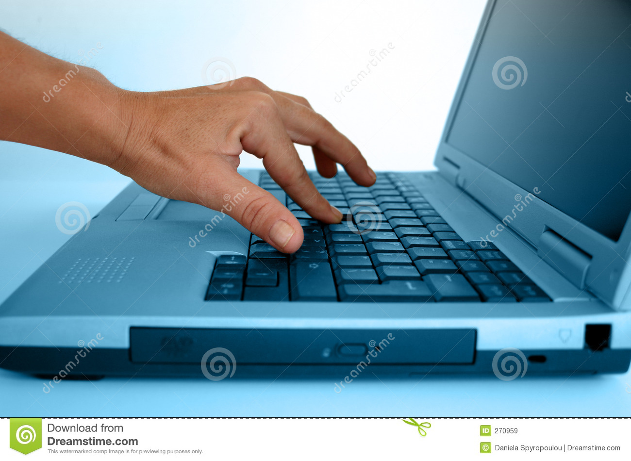 Hand typing on a laptop stock image. Image of business ...