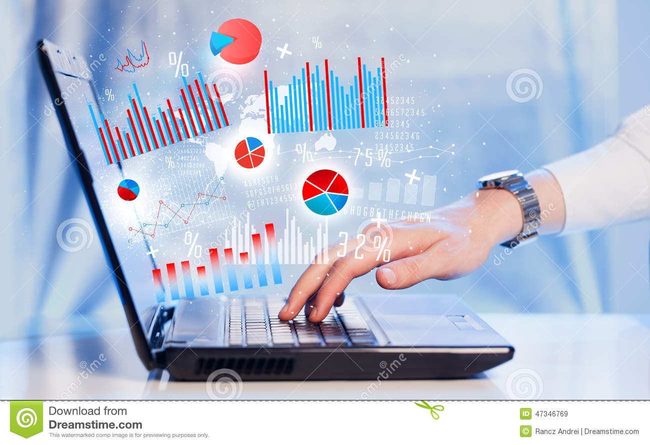 hand typing on modern laptop notebook computer with graph icons stock image