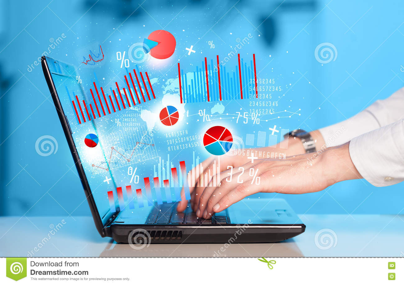 Hand Typing On Modern Laptop Notebook Computer With Graph Icons Stock Photo Image Of Internet Smart 73376760