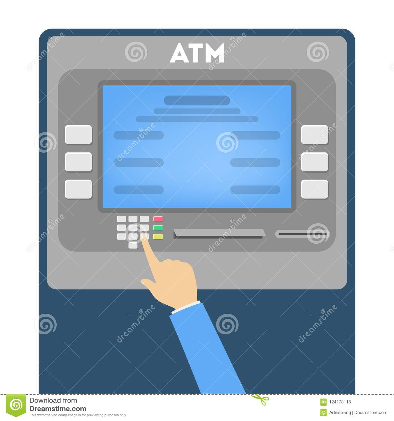Hand Typing Password Or Pin Code On The ATM Stock Vector