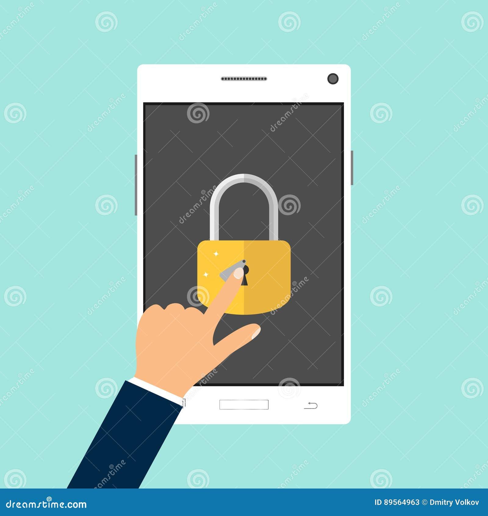 The hand unlocks the mobile phone
