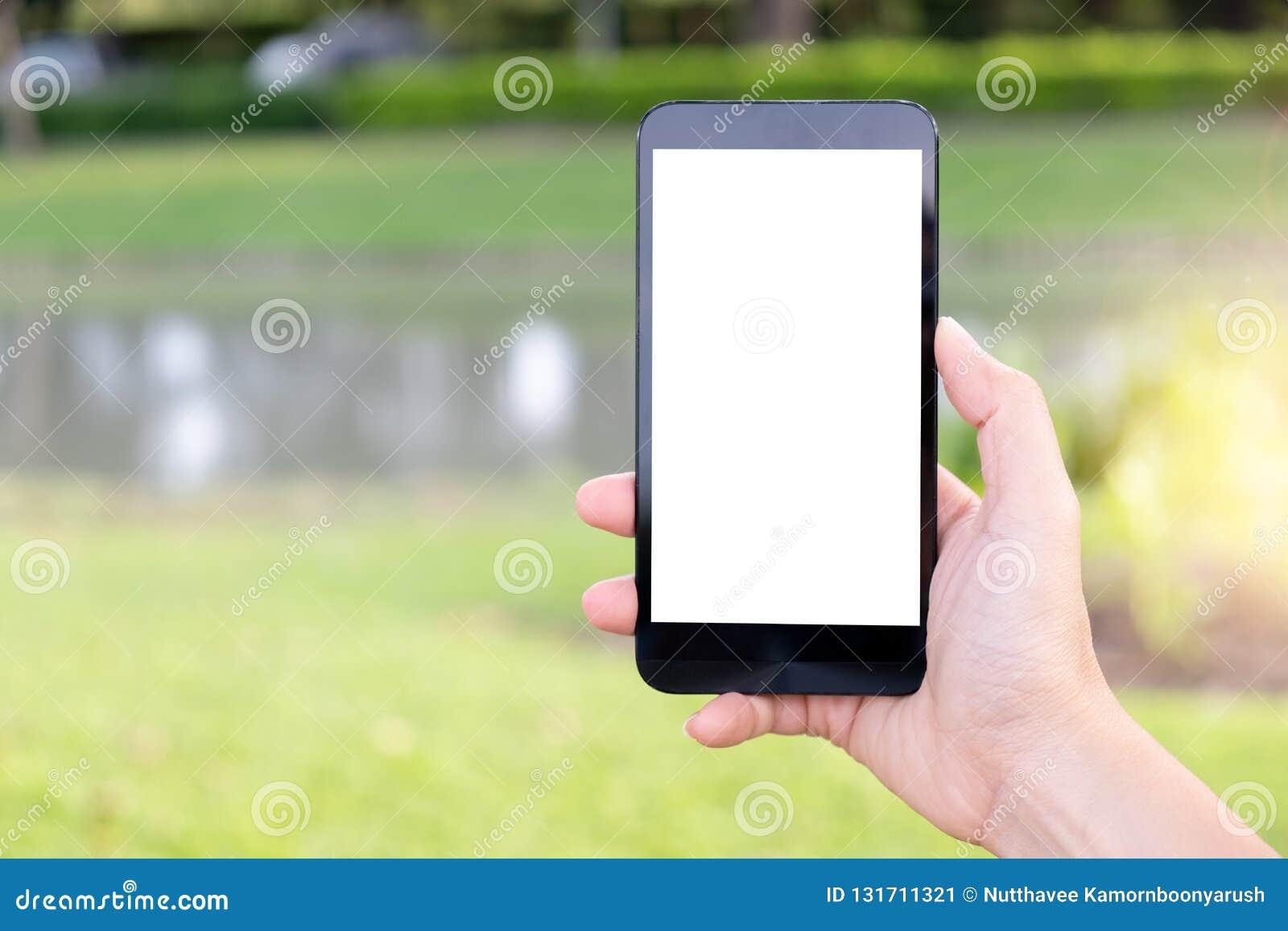 Hand unter Verwendung des Handys im Park