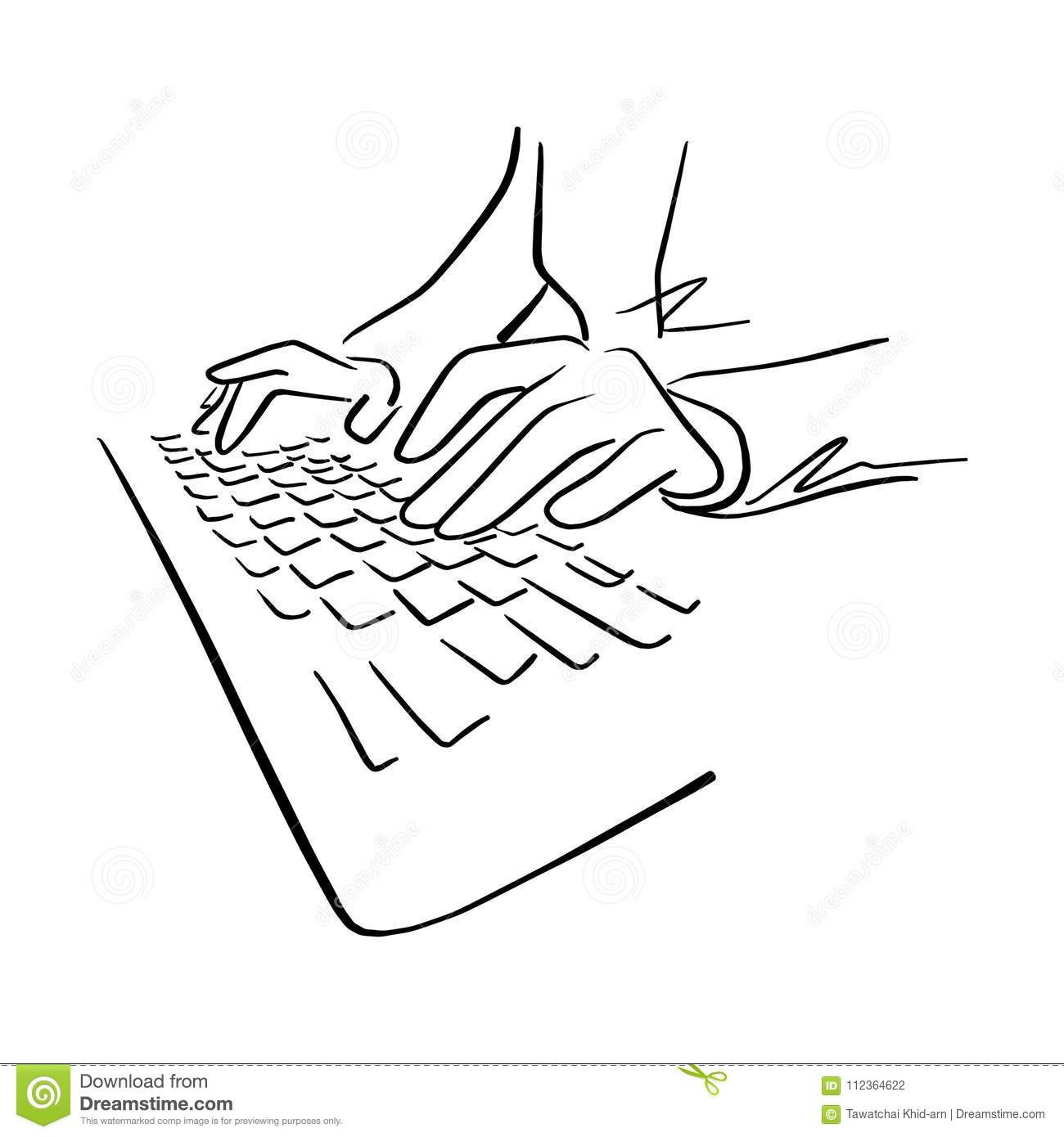 Hand Using Keyboard Of Computer Vector Illustration Sketch