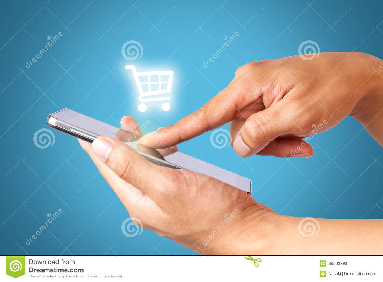 Hand using mobile phone online shopping, business and ecommerce concept.