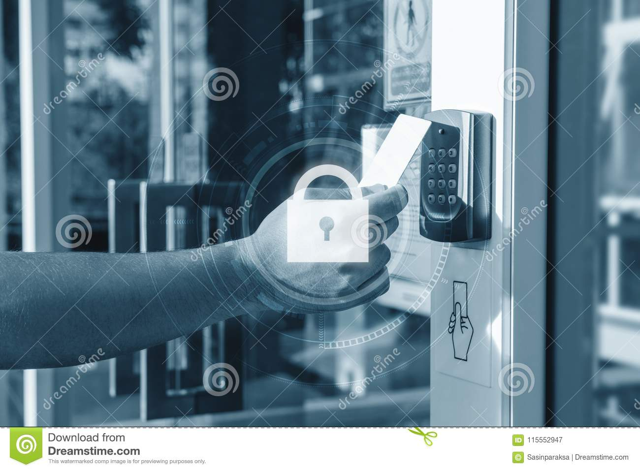 Hand using security key card scanning open the door to entering private building with lock icon technology. Home and building secu