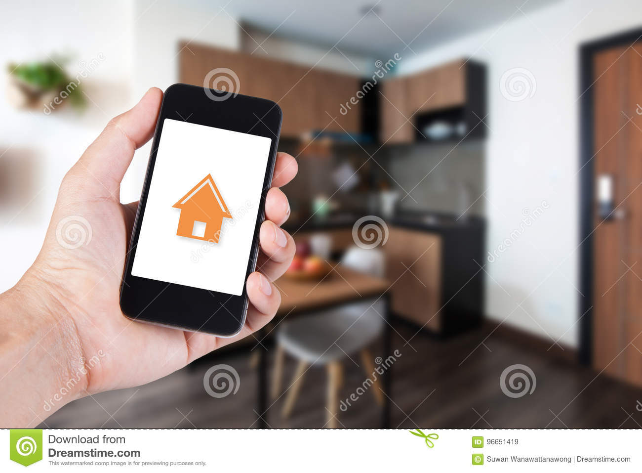 Hand using smartphone by app smart home on mobile