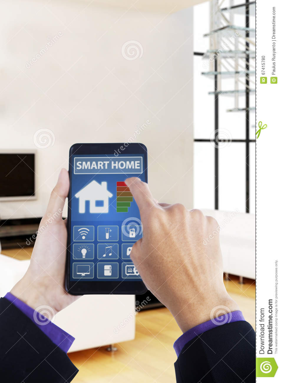 hand using smartphone with smart house app stock photo