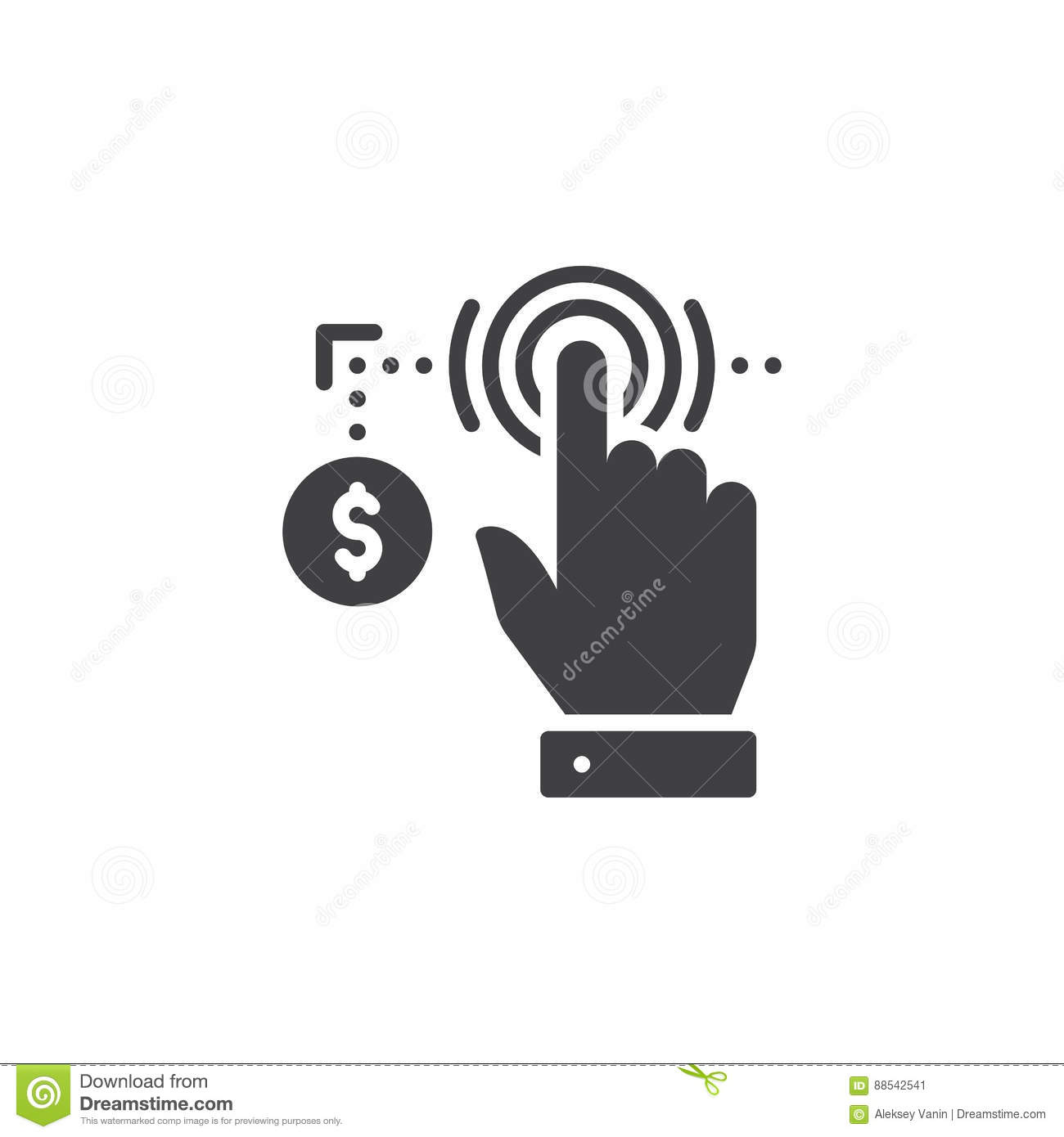 Hand using touch screen and coin icon vector, filled flat sign, solid pictogram isolated on white