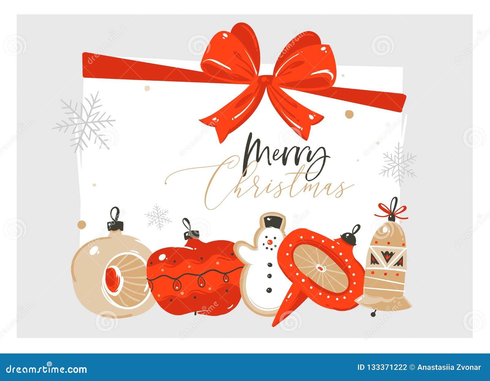 Hand vector abstracte Vrolijke Kerstmis en Gelukkige van de het beeldverhaalillustratie van de Nieuwjaartijd de groetkaart met re