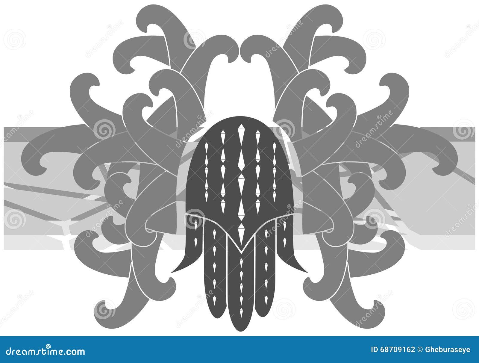 Hand von Fatima auf der Dekoration lokalisiert