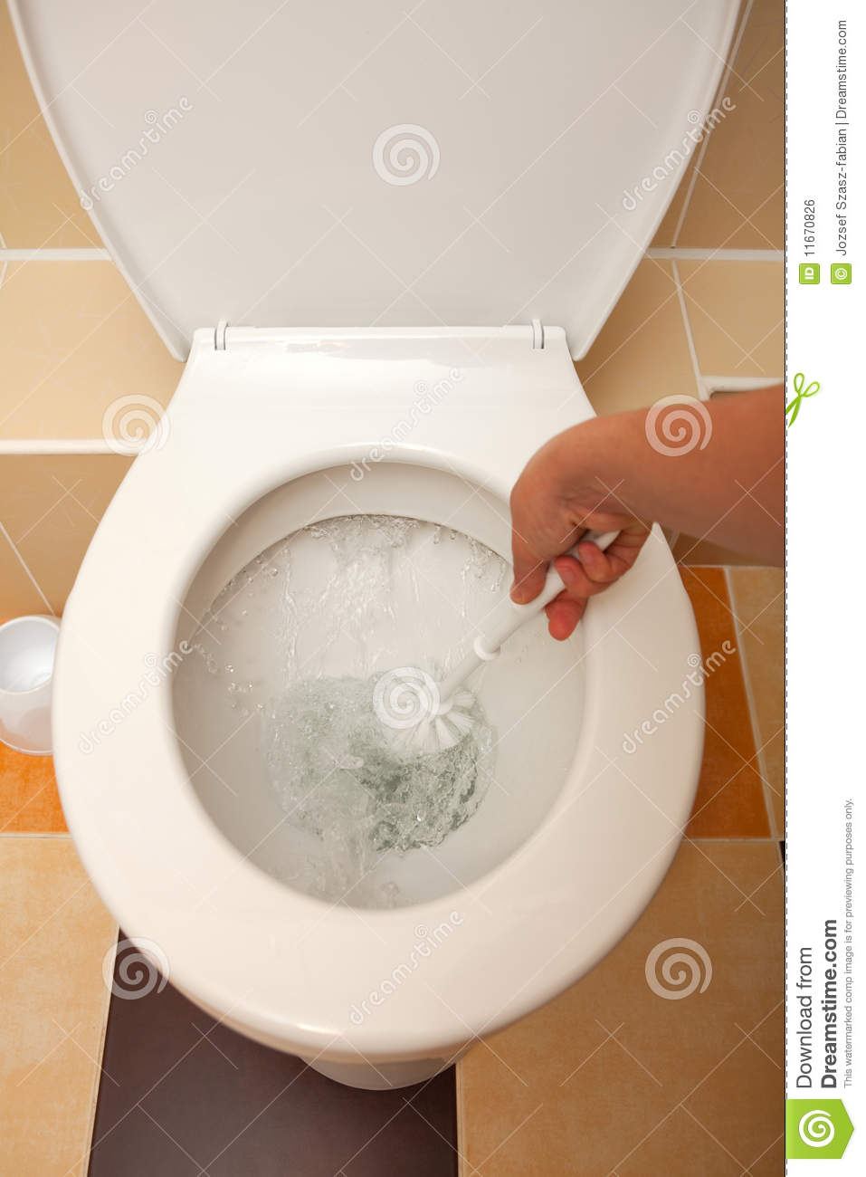 Hand Washing The Toilet Stock Photo Image Of Water Seat
