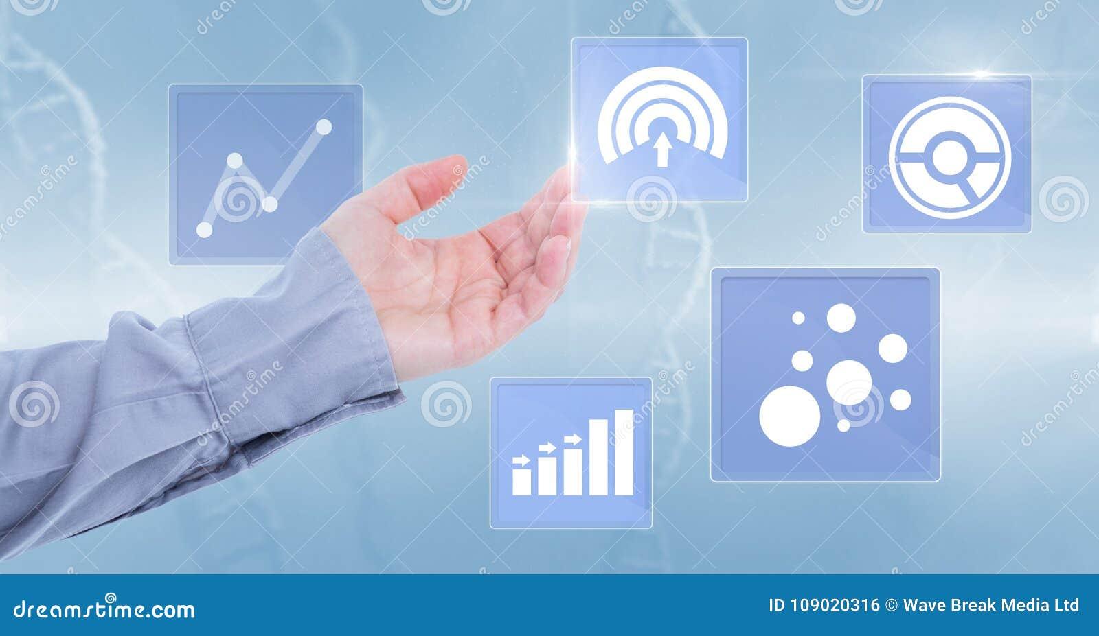 Hand wat betreft de pictogrammen van de bedrijfsgrafiekstatistiek