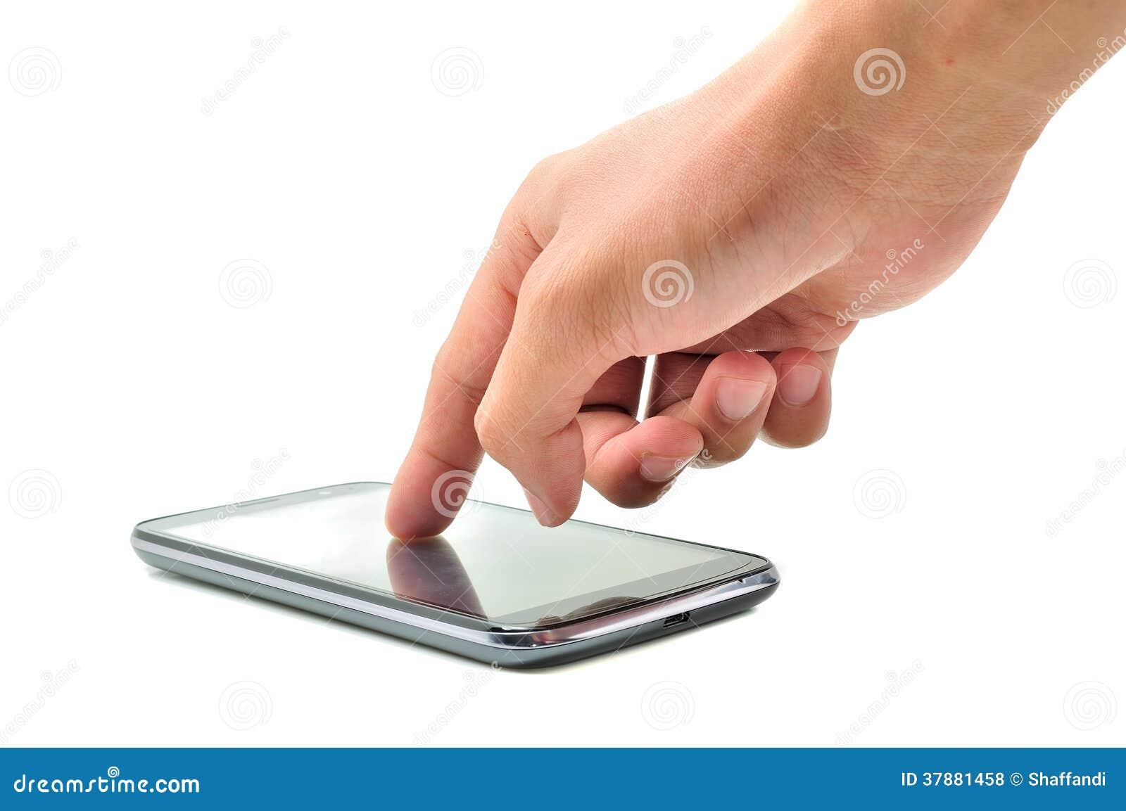 Hand wat betreft het scherm