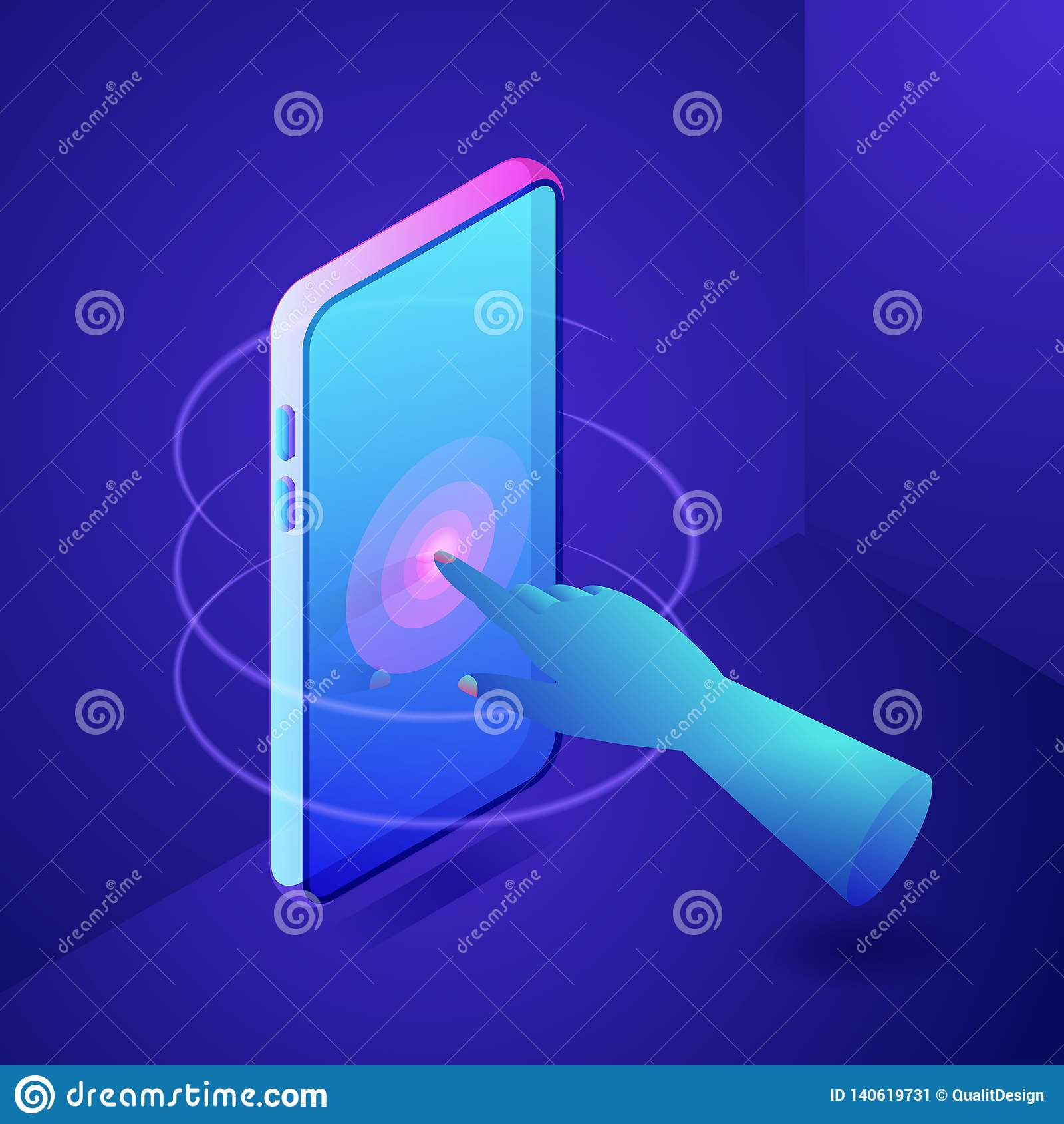 Hand wat betreft het scherm op telefoon Digitaal interactief technologieconcept De vector 3d isometrische illustratie van neongra