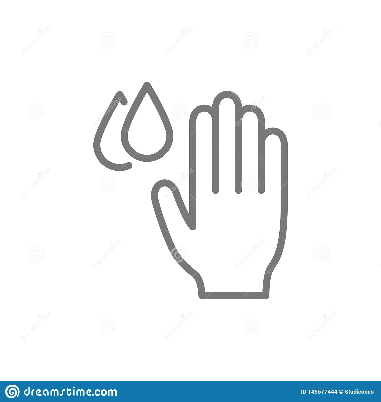 Hand with water drops, hygiene, washing hands line icon.