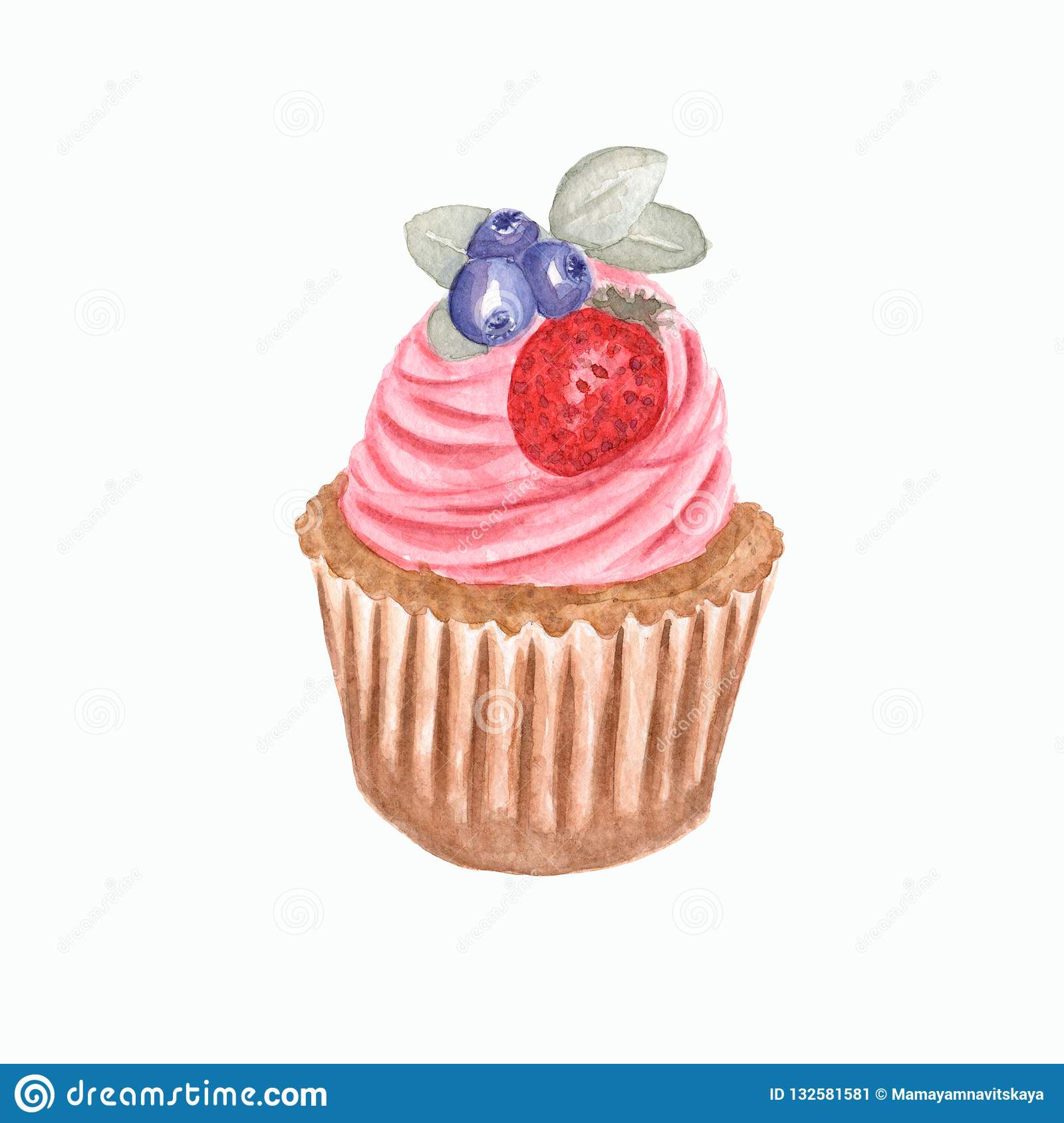 Hand watercolor cup cake, Watercolor drawing, isolated on white