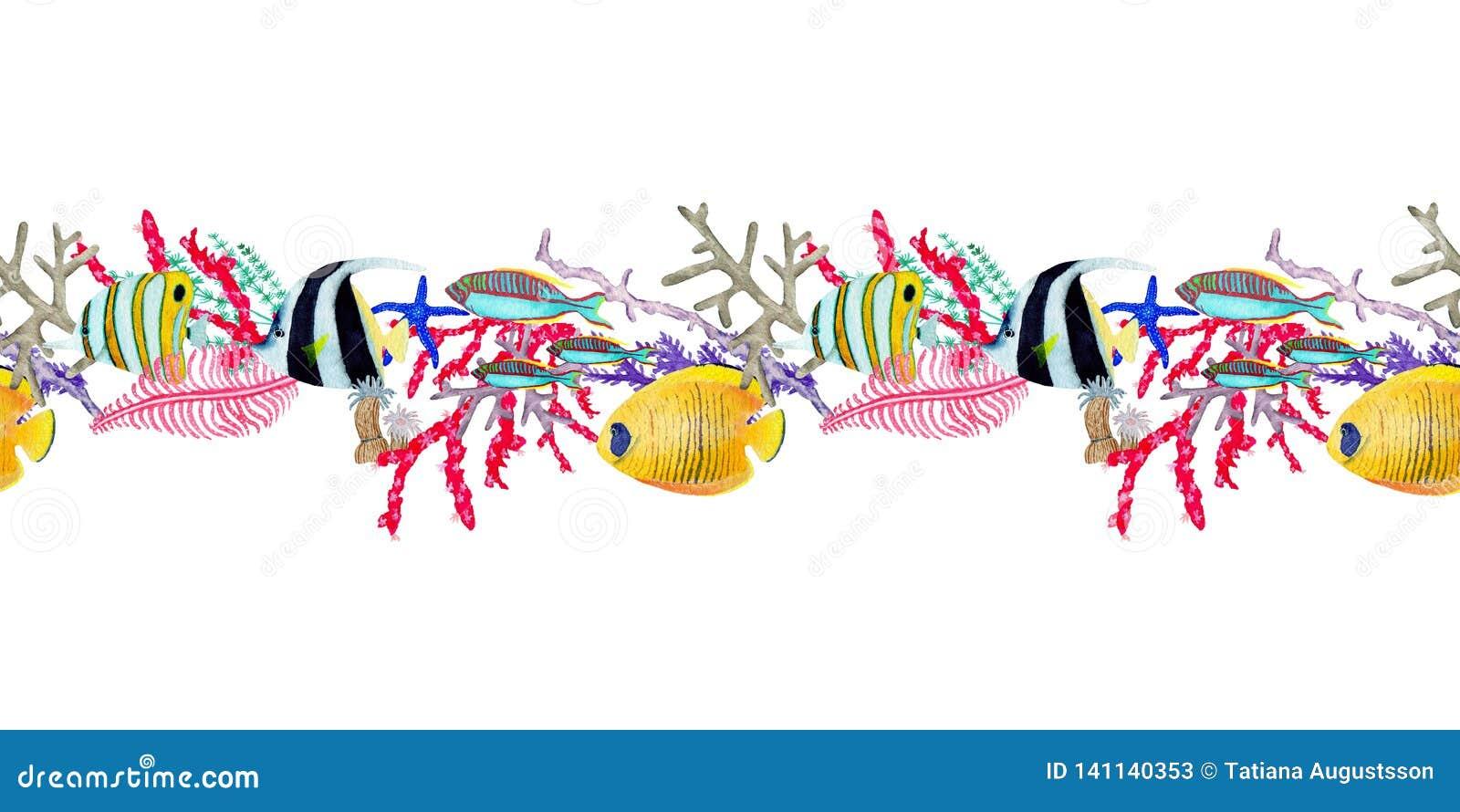 Hand in waterverf overzees wereld natuurlijk element dat wordt getrokken De seemless raad van de koralenertsader op witte achterg