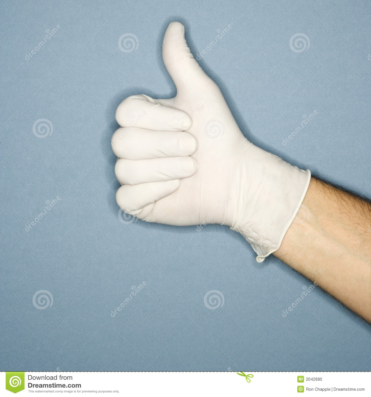 Hand Wearing Rubber Glove Giving The Thumbs Up Signal ...