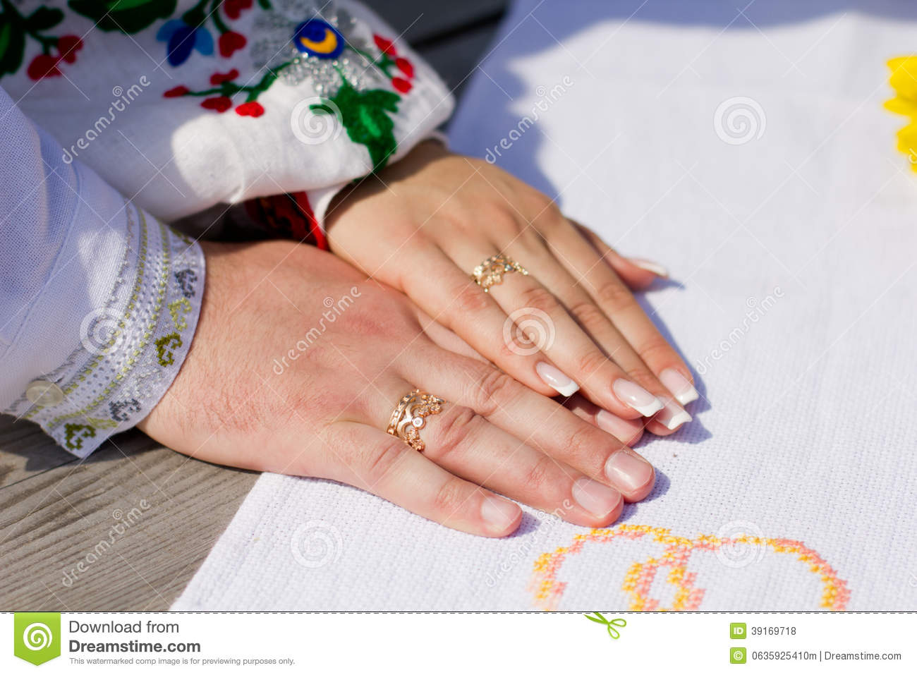 Hand with wedding rings stock photo Image of bride fingers 39169718